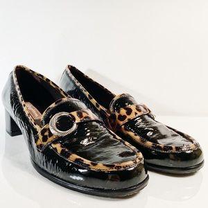 Brighton ~ Actor Loafers Leopard Print Trim Size 9